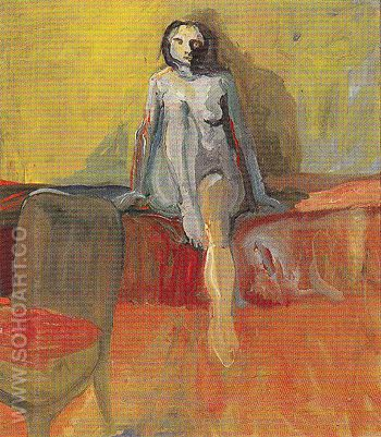 Figure on Red Couch 1957 - Elmer Bischoff reproduction oil painting
