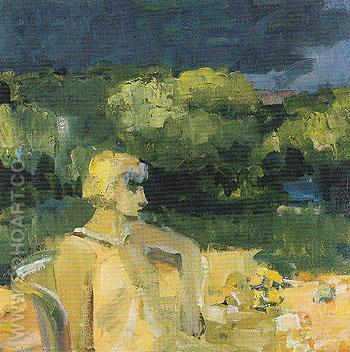 Figure Seated in Backyard 1959 - Elmer Bischoff reproduction oil painting