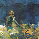 Woman with Dark Blue Sky June 1959 - Elmer Bischoff reproduction oil painting