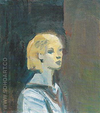 Girl with Blue Blouse 1959 - Elmer Bischoff reproduction oil painting
