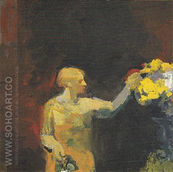 Woman with Yellow Flowers 1958 - Elmer Bischoff reproduction oil painting