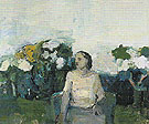 Seated Figure in Garden 1958 - Elmer Bischoff reproduction oil painting