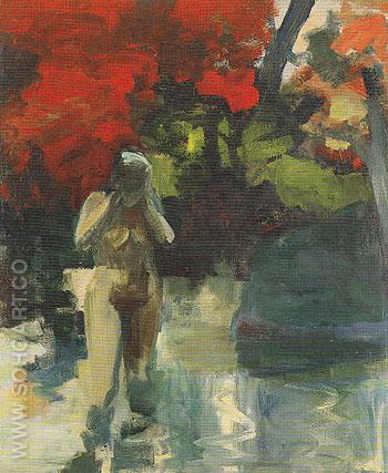 Girl Wading 1959 - Elmer Bischoff reproduction oil painting