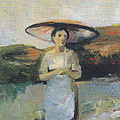 Woman with Umbrella 1957 - Elmer Bischoff reproduction oil painting