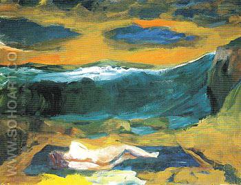 Blue Clouds 1963 - Elmer Bischoff reproduction oil painting