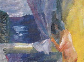 Lavender Curtain 1962 - Elmer Bischoff reproduction oil painting