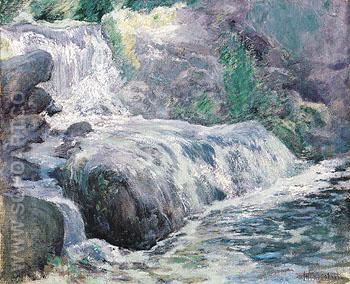 Waterfall Blue Brook c1899 - John Henry Twachtman reproduction oil painting