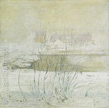 Bridge in Winter c1901 - John Henry Twachtman reproduction oil painting