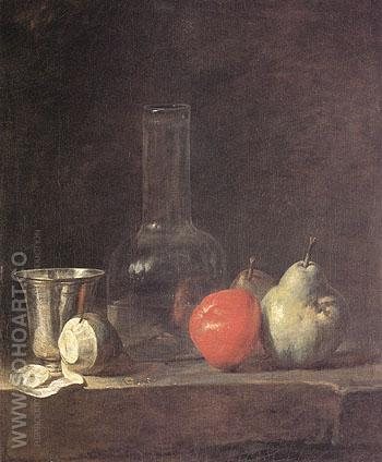 Carafe Silver Goblet and Fruit c1728 - Jean Simeon Chardin reproduction oil painting
