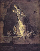Wild Rabbit with Game bag and Powder Flask c1728 - Jean Simeon Chardin reproduction oil painting