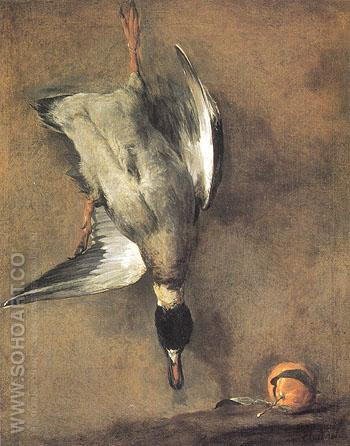 A Green neck Duck with a Silver Orange 1728 - Jean Simeon Chardin reproduction oil painting