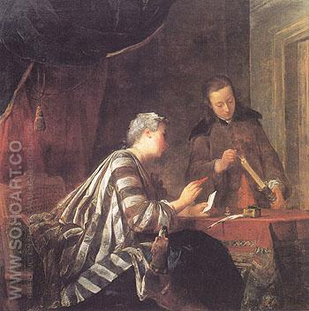Lady Sealing Letter 1733 - Jean Simeon Chardin reproduction oil painting