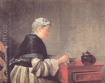 Lady Taking Tea 1735 - Jean Simeon Chardin reproduction oil painting