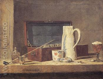 The Smokers Case c1737 - Jean Simeon Chardin reproduction oil painting