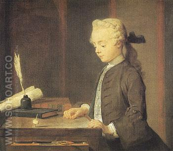 Portrait of Auguste Gabriel Godefroy 1738 - Jean Simeon Chardin reproduction oil painting