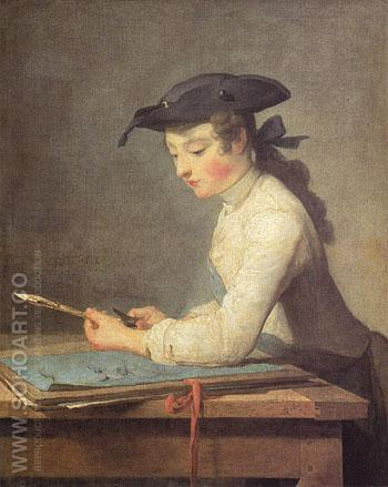 The Young Draughtsman 1737 - Jean Simeon Chardin reproduction oil painting