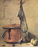 Rabbit with Copper Cauldron and Quince 1735 - Jean Simeon Chardin reproduction oil painting