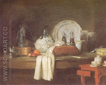 The Butlers Table 1756 - Jean Simeon Chardin reproduction oil painting