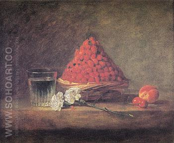 Basket of Wild Strawberries 1761 - Jean Simeon Chardin reproduction oil painting