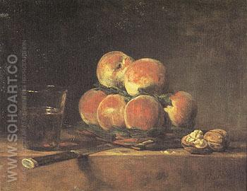 A Basket of Peaches 1768 - Jean Simeon Chardin reproduction oil painting