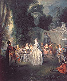 Fetes Venitiennes c1718 - Jean Antoine Watteau reproduction oil painting