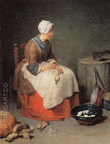 The Kitchen Maid 1738 - Jean Simeon Chardin reproduction oil painting