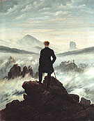 Wanderer Watching a Sea of Fog c1817 - Caspar David Friedrich reproduction oil painting