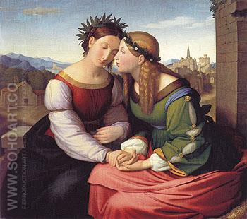 Italia and Germania 1828 - Friedrich verbeck reproduction oil painting