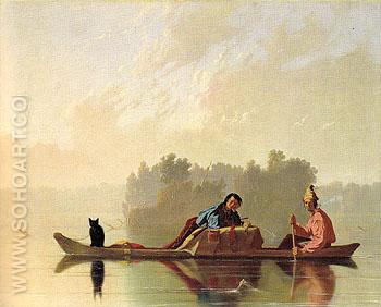 Fur Traders Descending the Missouri 1845 - George Caleb Bingham reproduction oil painting