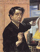 Self Portrait with Palette 1924 - Giorgio de Chirico reproduction oil painting