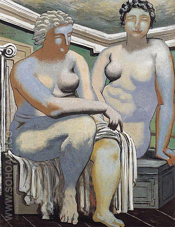 Two Seated Nudes 1926 - Giorgio de Chirico reproduction oil painting