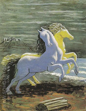 Two Horses by the Sea 1926 - Giorgio de Chirico reproduction oil painting