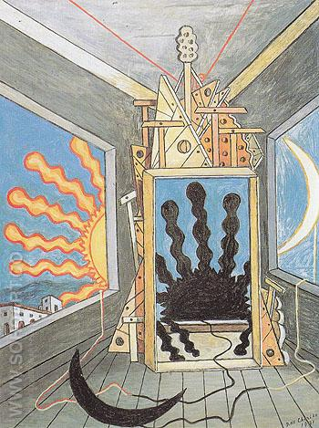 Metaphysical Interior with Extinguished Sun 1971 - Giorgio de Chirico reproduction oil painting