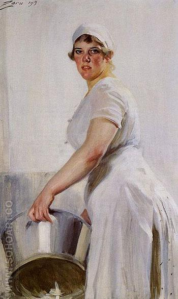 A Kitchen Maid - Anders Zorn reproduction oil painting