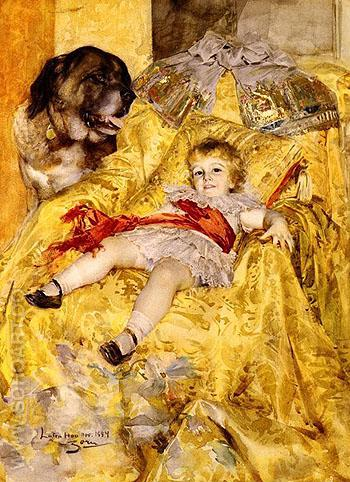 A Portrait of Christian De Falbe With a Saint Bernard at Luton Hoo - Anders Zorn reproduction oil painting