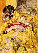 A Portrait of Christian De Falbe With a Saint Bernard at Luton Hoo - Anders Zorn