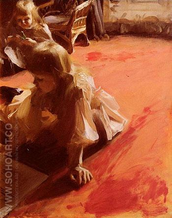 A Portrait of the Daughters of Ramon Subercasseaux - Anders Zorn reproduction oil painting