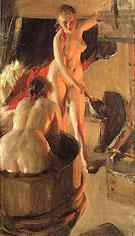 Badande Kullor I Bastun Women Bathing in the Sauna 1906 - Anders Zorn reproduction oil painting