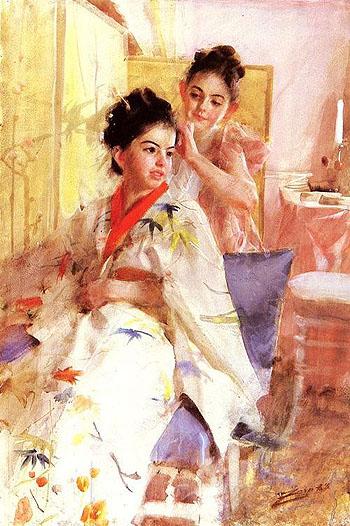 Froknarna Salomon the Misses Salomon 1888 - Anders Zorn reproduction oil painting