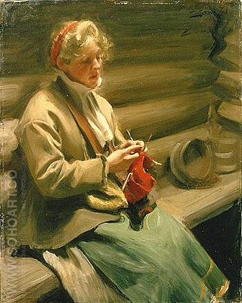 Girl from Dalecarlia Knitting - Anders Zorn reproduction oil painting