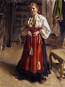 Girl in an Orsa Costume - Anders Zorn reproduction oil painting