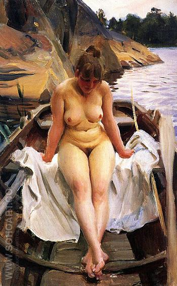I Werners Eka In Werners Rowing Boat 1917 - Anders Zorn reproduction oil painting