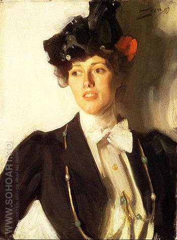 Martha Dana Mrs William R Mercer - Anders Zorn reproduction oil painting