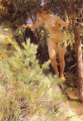 Naken under en Gran 1892 - Anders Zorn reproduction oil painting