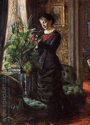 Portrait of Fru Lisen Samson nee Hirsch Arranging Flowers at a Window - Anders Zorn reproduction oil painting