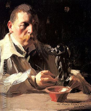 Self Portrait with Faun and Nymph - Anders Zorn reproduction oil painting
