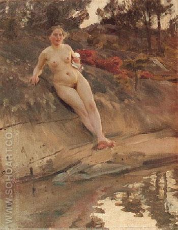 Sunbathing Girl 1913 - Anders Zorn reproduction oil painting