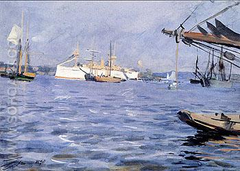 The Battleship Baltimore in Stockholm Harbor - Anders Zorn reproduction oil painting