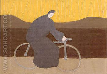 Bicycle Rider by the Loire 1954 - Milton Avery reproduction oil painting