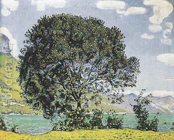 Tree near Lake Brienz from Bodeli 1906 - Ferdinand Hodler reproduction oil painting